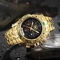 TEMEITE Kreative Goldene Männer Quarz Armbanduhren 3D Zifferblatt Design Voller Stahl Kalender Wasserdichte Große Uhren Top Marke Luxus Uhr|Quarz-Uhren|Uhren -