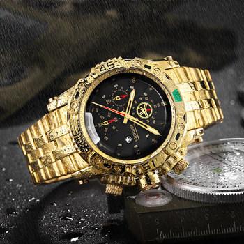 TEMEITE kreatywny złoty mężczyźni zegarki kwarcowe 3D projekt tarczy zegarka pełna stal kalendarz wodoodporne duże zegarki na rękę Top marka ekskluzywny zegarek tanie i dobre opinie 22cm Moda casual QUARTZ 3Bar Składane zapięcie z bezpieczeństwem STAINLESS STEEL 14mm Hardlex Kwarcowe Zegarki Na Rękę