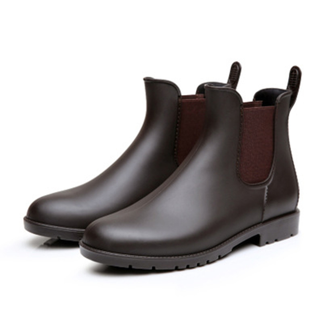 2018 Men rubber rain boots fashion black chelsea boots casual lovers botas slip-on waterproof ankle boots moccasins 35-43 NO.178