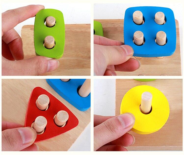 Купить с кэшбэком Baby Toys Montessori Wooden Geometric Sorting Board Blocks Kids Educational Toys Building Blocks Child Gift