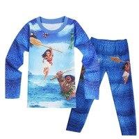 2017 New Moana Children Boy Girl Thin Pajamas Suit Sleepwear Set Pijamas Kids Pajamas Cartoon Children
