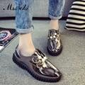 Новая Мода бисероплетение Лакированной Кожи женская обувь твердые круглый носок случайные дамы квартиры 2016 лето Горный Хрусталь скольжения на одной обуви