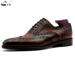 Image 2 - cie oxford patina brown brogues dress shoe genuine calf leather outsole men leather work shoe handmade quick delivery No. 20311