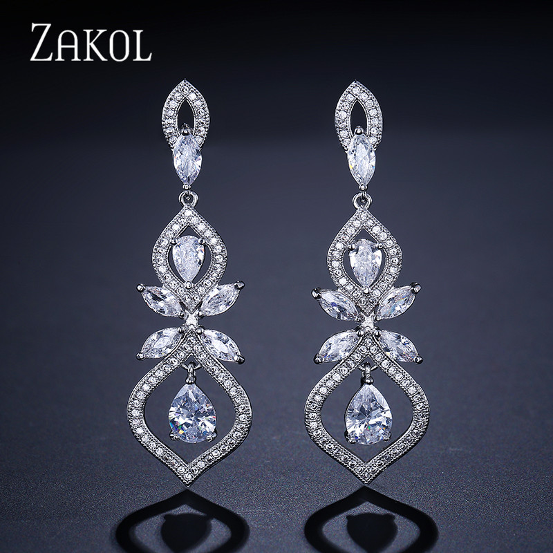 ZAKOL Luxus CZ Wedding Jewelry Chandelier Dangles Drop Earrings For Noble Women Anniversary FSEP308