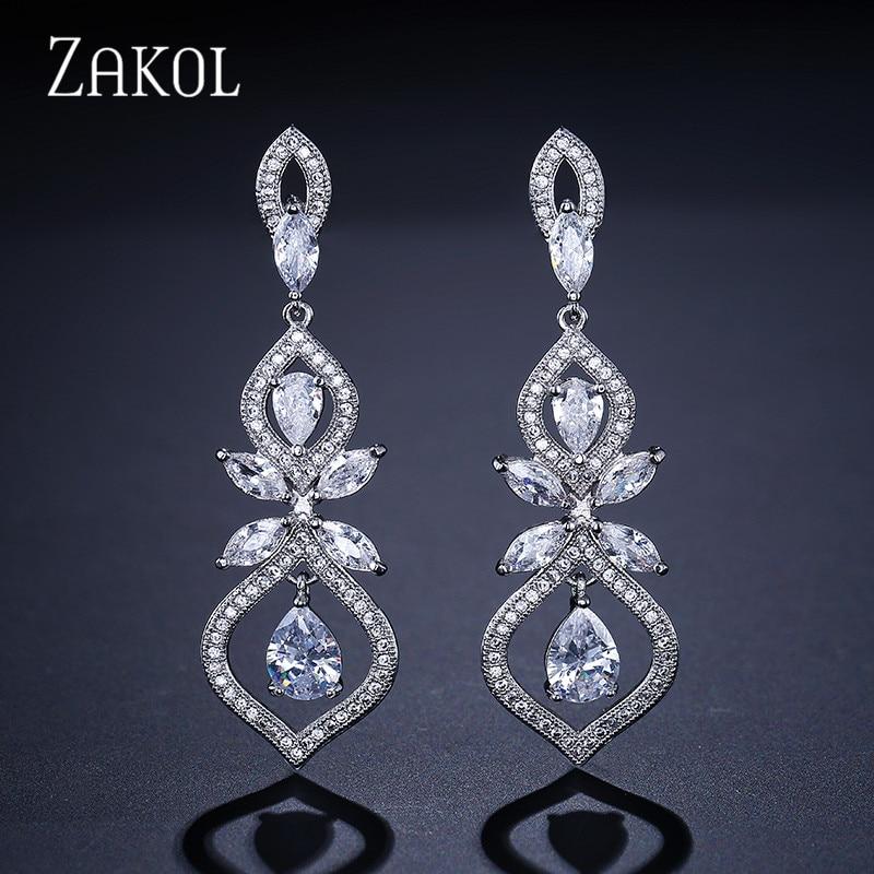 ZAKOL Luxus CZ Wedding Jewelry Chandelier Dangles Drop Earrings For Noble Women Anniversary FSEP308
