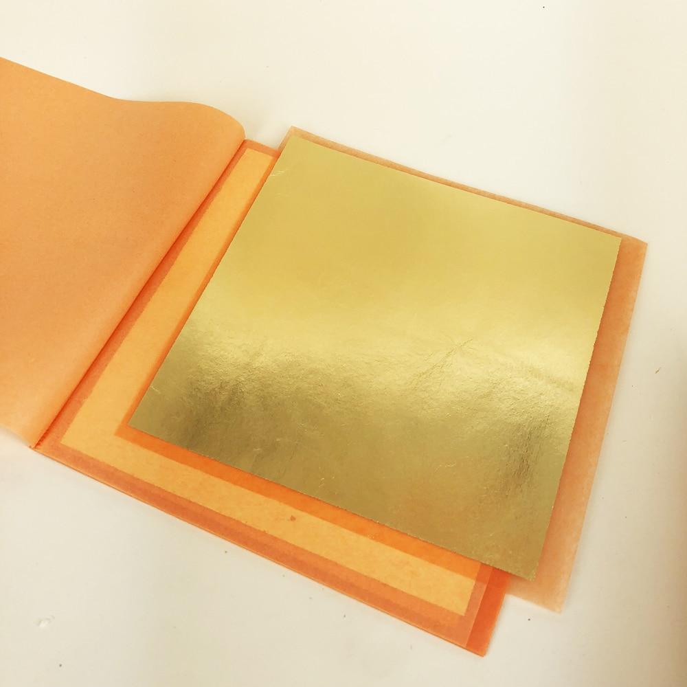High Quality Imitation Gold Silver Copper Transfer Foil 14 X 14 Cm 25 Pcs Per Booklet Foil Paper For Gilding DIY Craf Decoration