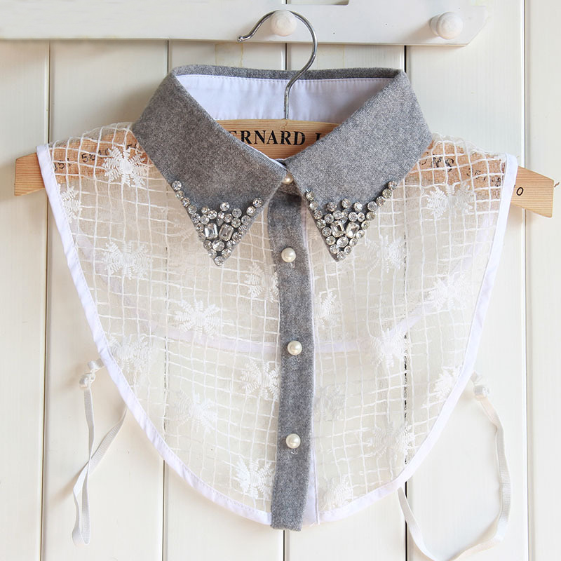 Home Crystal Pearls Embroidery White White Fake Collar For Women Jeans False Collar Shirt Lady Lace Lapel Womens Detachable Collars Great Varieties