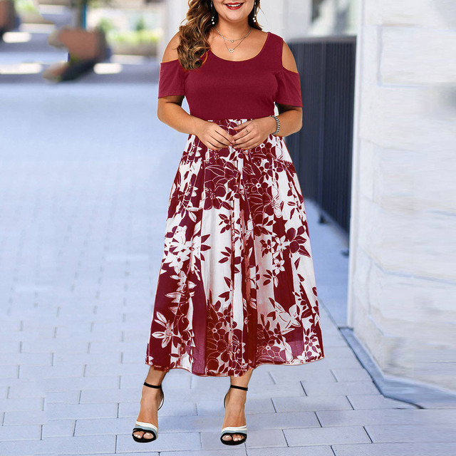 Casual Plus Size O-Neck Print Stitching Off-Shoulder Dress