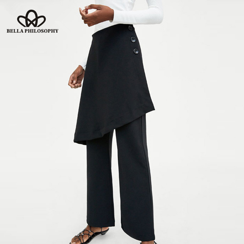Womens Fashion Long Casual Wool Blend Wide Leg Pants Ladies pantskirt culottes##