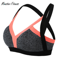 2018 Monster Fitness Sexy Bralette Sports Bra For Sportswear Cross Backless Yoga Patchwork Tank Crop GYM