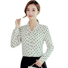 2019 Polka Dot Chiffon Blouse Shirts Women Bow Tie Long Sleeve Tops 2019 Summer Autumn Button Office Ladies Blusas Femininas(China)