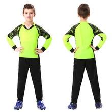 Custom Professional Kids Goalkeeper Jerseys Soccer Football Doorkeepers Thicken Sponge Protector Training Uniform Sets