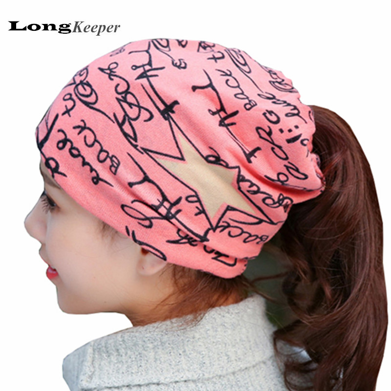 все цены на  LongKeeper 2016 New Womens Hats Letters Causal Solid Pink Beanies Star Style Winter Hat Pattern Female Wrapped Circle Caps ZM01  онлайн