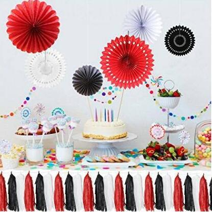 9pcs Diy Paper Tissue Paper Fan And Tissue Tassels Garland White Red