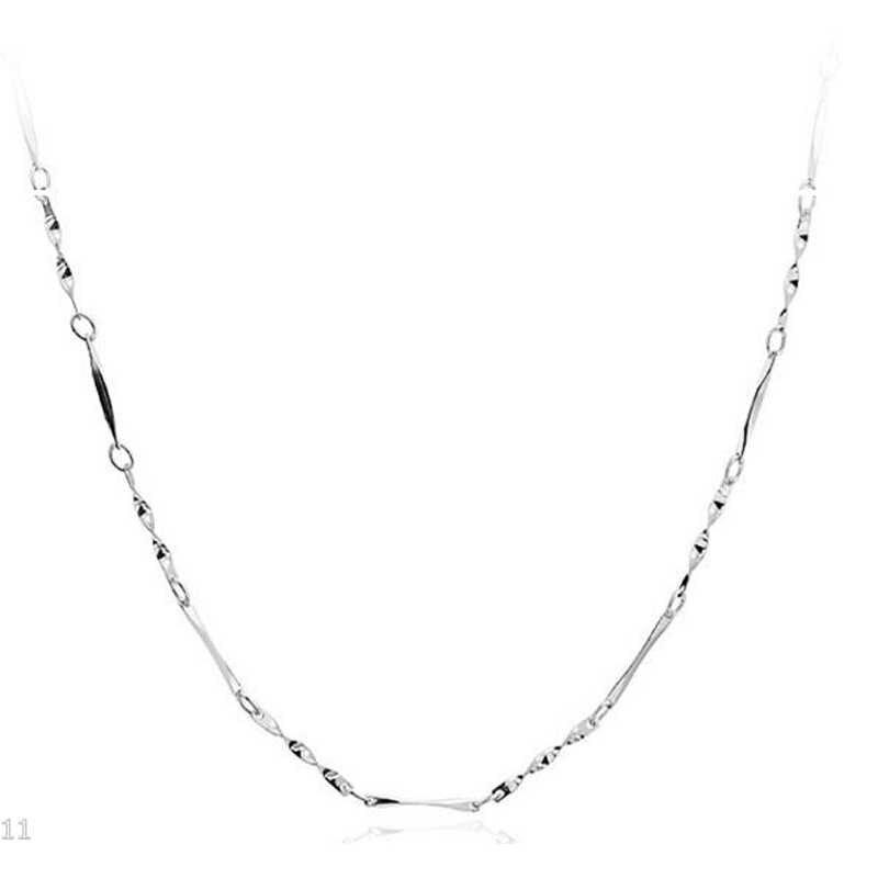 Sederhana Berlapis Perak Rantai Kalung Ular Seksi Twisted Bar Kotak Rantai Liontin Kalung untuk Wanita Pesona Pesta Perhiasan