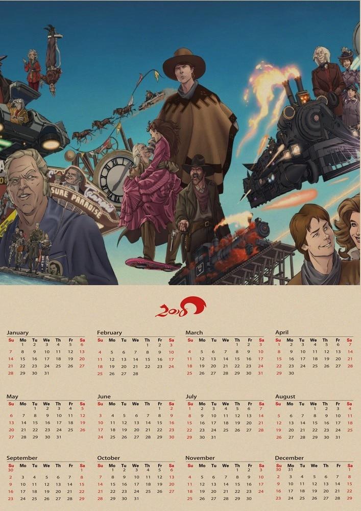 Back To The Future Classic Vintage Nostalgic Movie 2018 Calendar Kraft Paper Poster Interior Decoration Free Shipping