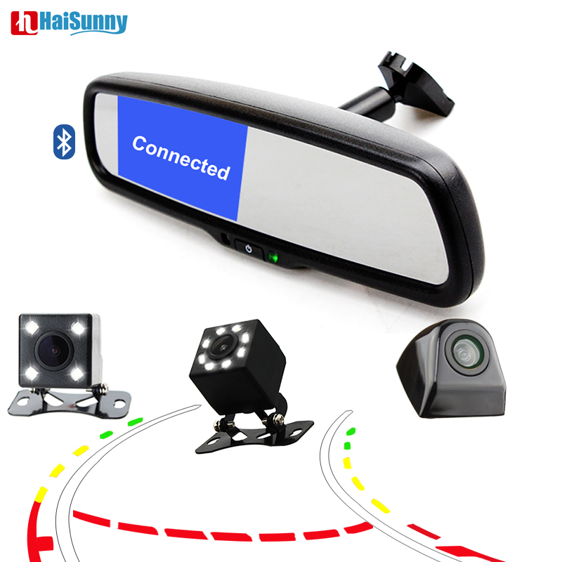 HaiSunny Bluetooth Rearview Mirror Monitor With Guide Tracks Car Rear View Camera for Hyundai Tucson/Honda /Toyota/VW/Fiat haisunny clear mirror auto dimming interior rear view mirror electronic support honda mazda subaru vw bmw toyota ford