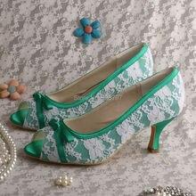 Wedopus MW517 Женщины Зеленый Кружева Насосы для Свадьбы Среднего Пятки Ботинки Партии