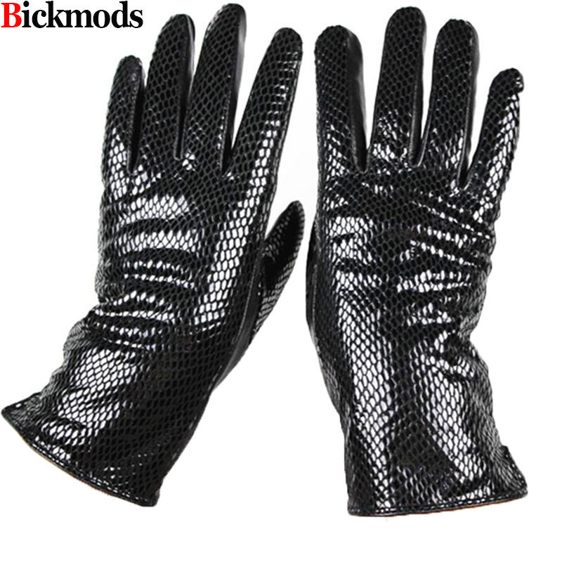 Female style snakeskin pattern leather gloves points finger sheepskin gloves warm cashmere lining armband sets free shipping-in Women's Gloves from Apparel Accessories