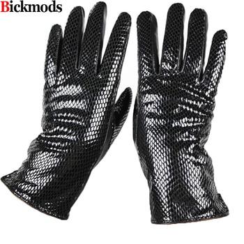 цена на Female style snakeskin pattern leather gloves points finger sheepskin gloves warm cashmere lining armband sets free shipping