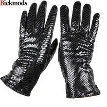 Weibliche stil schlangen muster leder handschuhe punkte finger schaffell handschuhe warme kaschmir futter armband sets kostenloser versand