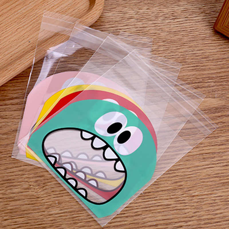 100pcs Cute Cartoon Monster Cookie Candy Bag Self Adhesive Plastic Packing Bag Wedding Party Biscuits Baking Package Supplies