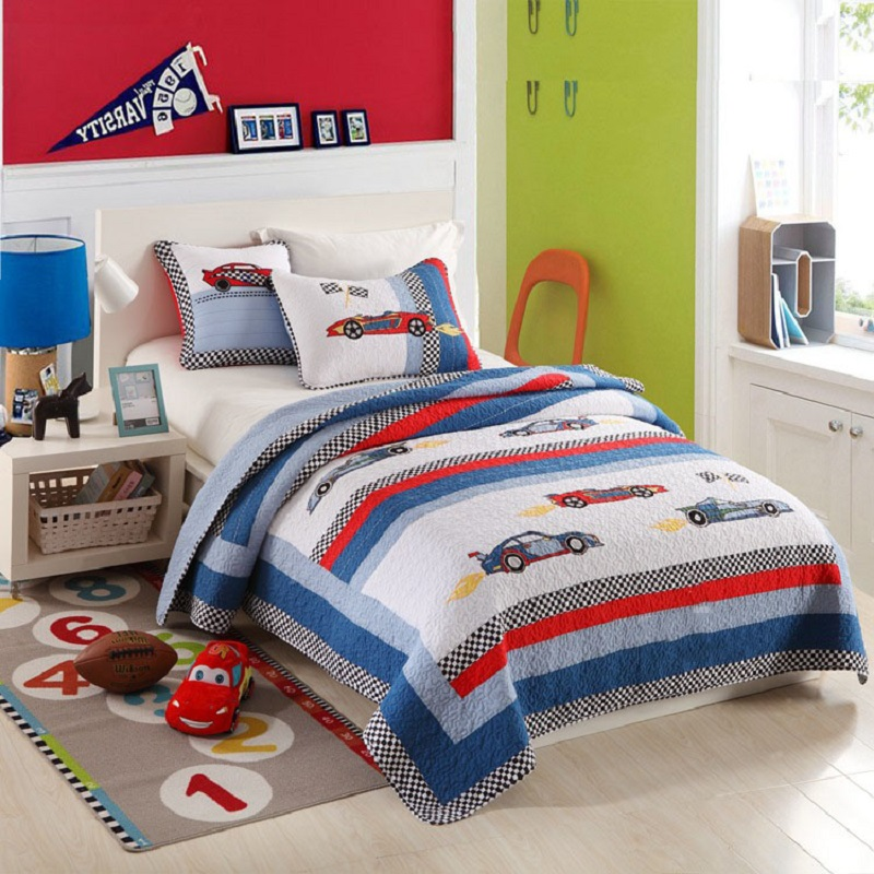 chausub kids quilt set 2pcs cotton quilts patchwork quilted bedspread racing car bed cover twin size boys coverlet blanket