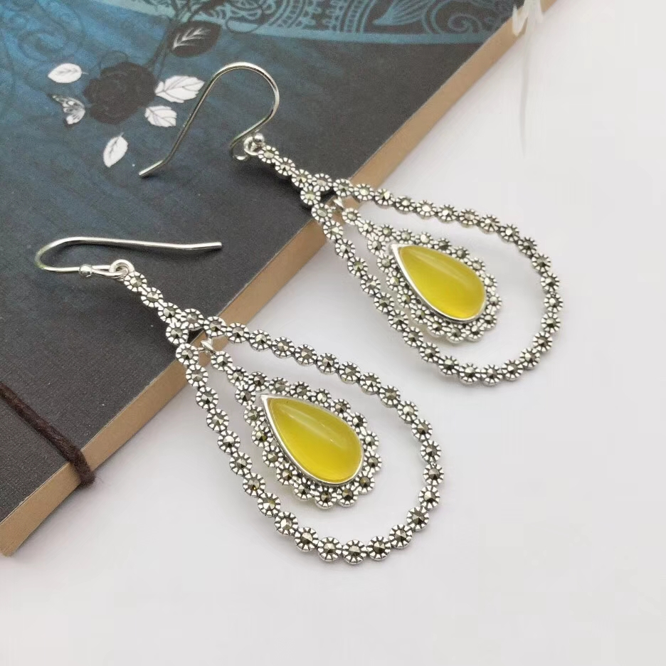 Pure S925 Silver & Yellow Chalcedony Dangle Earrings Womans Heart Earrings Hook Drop Fashion NewPure S925 Silver & Yellow Chalcedony Dangle Earrings Womans Heart Earrings Hook Drop Fashion New