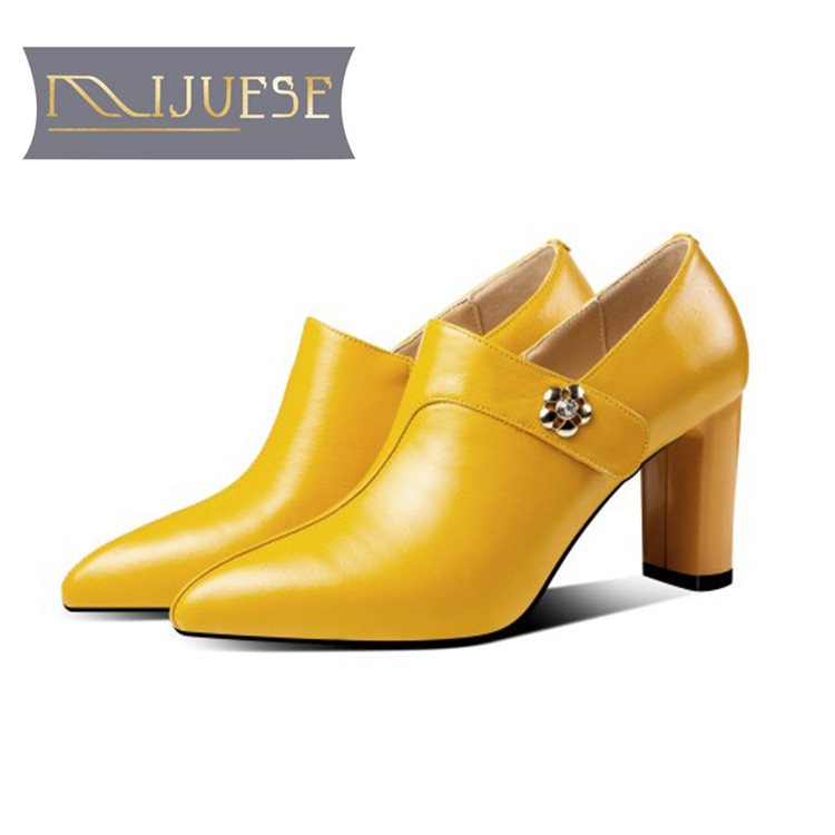 MLJUESE 2019 women pumps autumn spring cow leather pointed toe slip on yellow color high heels