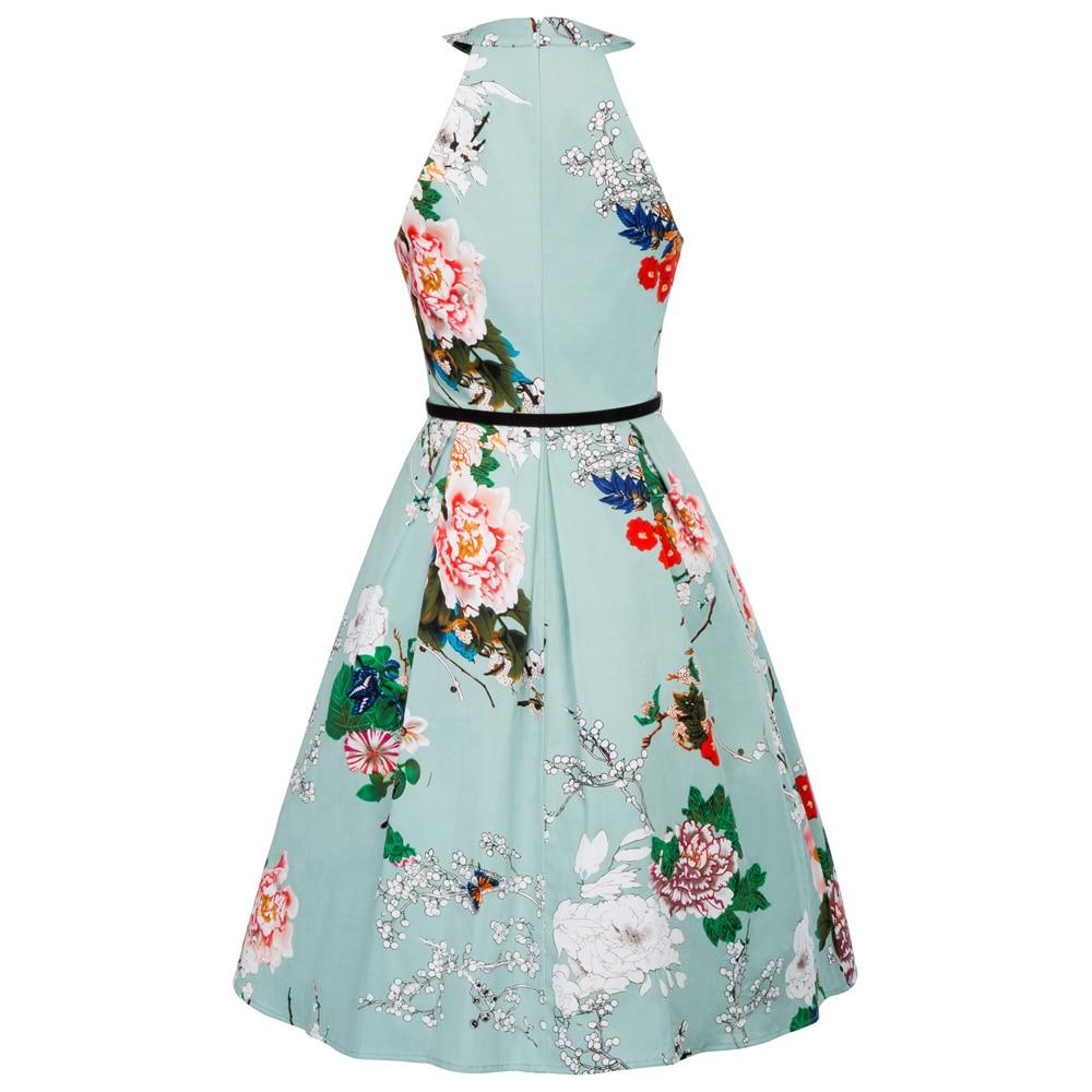 Rockabilly Summer Halter Dress Vintage 1950s Women Party Dress Robe ...