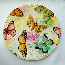 Watercolor butterfly Print Custom Round Doormat Non-slip Rug Pad Carpet Kids Room Home Decor Floor Mat Water Absorption Mat