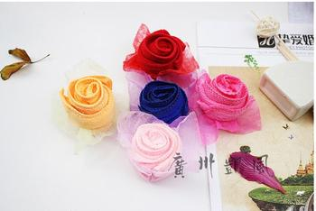 50 pieces Wedding Gifts For Guests Sweety Rose Flower Cake Towel For Party Supply Valentine's Day Favor