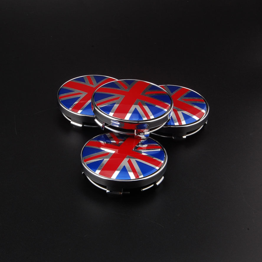 BBQ@FUKA 4Pcs 60mm Round Union Jack UK British Flag Wheel Center <font><b>Hub</b></font> <font><b>Caps</b></font> Emblems Badges Fit For <font><b>BMW</b></font> image