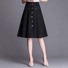 2019 New Korean Version Woman Plus Size High Waist Denim A Line Skirt Button Slim Fit Midi Jeans Skirt Elegant Office Lady Skirt