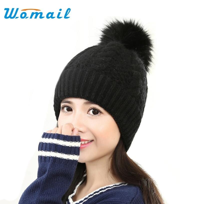 Hot Skullies Beanies Winter Hat pom pom Caps For Women Girl Vintage Patchwork Hemming Warm Spring Autumn Hat Female WSep21 skullies