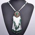 Estilo turco de color verde grande collares para las mujeres plateado oro antiguo grano de acrílico colgante borla collar largo de la vendimia choker