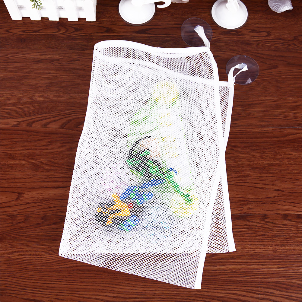 51x36cm Bathroom Mesh Net White Storage Bag Baby Kid Bath Bathtub Toy Mesh Net Storage Bag Organizer Holder For Home