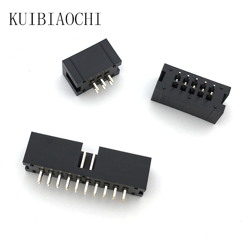 10pcs/lot JTAG ISP socket straight IDC Box headers connector 2.54mm Pitch Box headers female connector