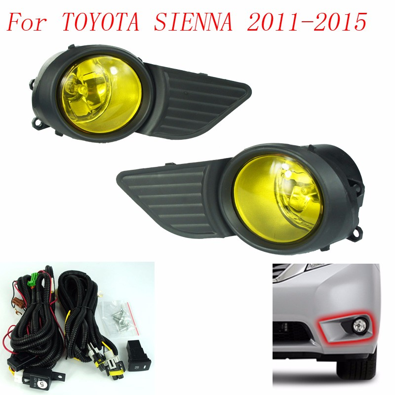 Fog light for TOYOTA SIENNA 2011 2012 2013 2014 2015 fog lamps Clear / yellow Lens Bumper Fog Lights Driving Lamps YC100595 стоимость