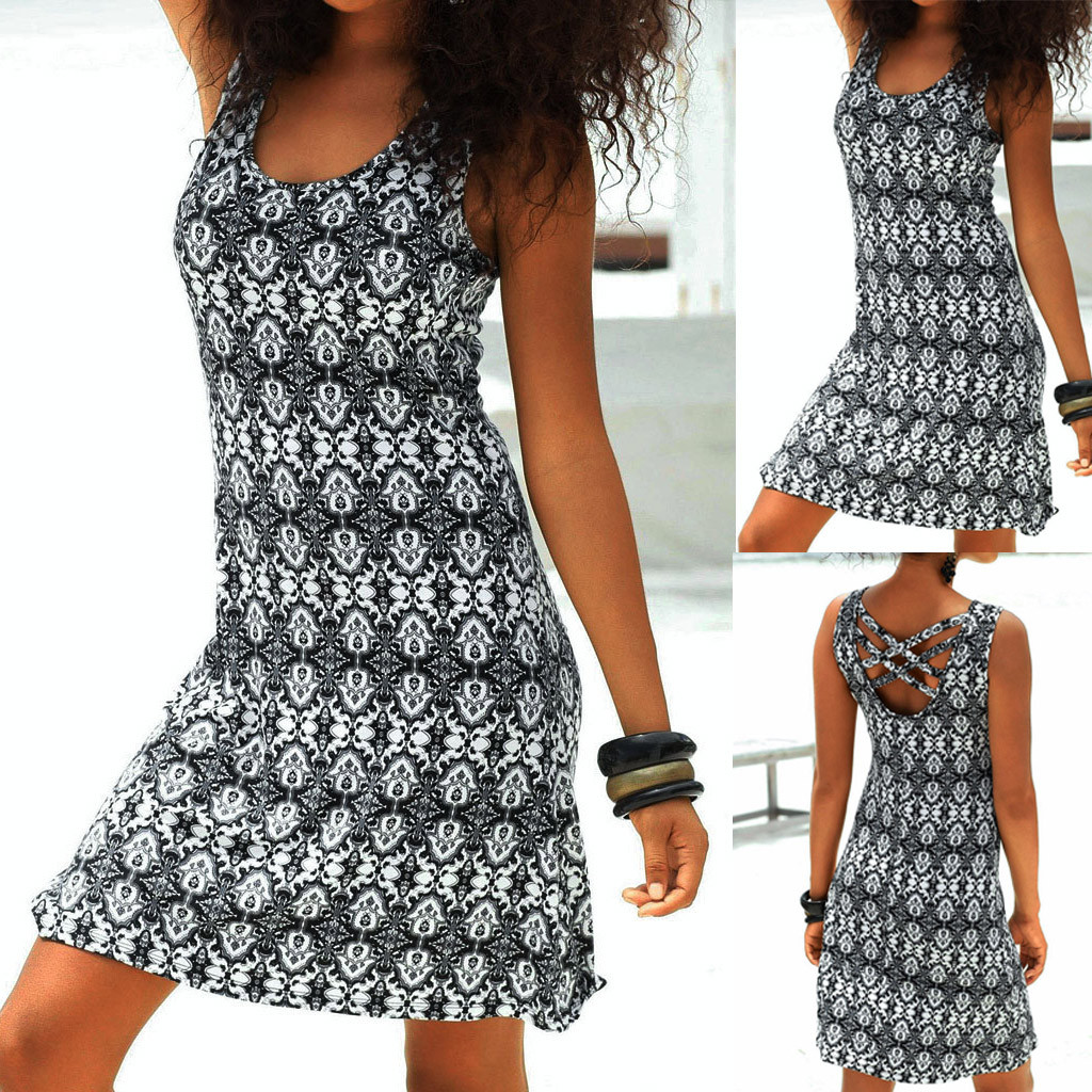 2019 Bohemian Casual Summer Above Knee Dress Women Halter Neck Boho Print Sleeveless Casual Mini Beachwear Dress Sundress #c