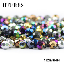 BTFBES Football Faceted Austrian Crystal 30pcs 8mm Plated AB Color Round Ball Loose Bead Jewelry Bracelet Making DIY Accessories