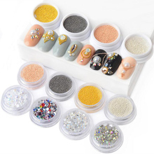 Metal Caviar Beads Nail Art Decoration AB Color Silver Plane Bottom Rhinestone Colorful Strass Pearl Mixes LSH