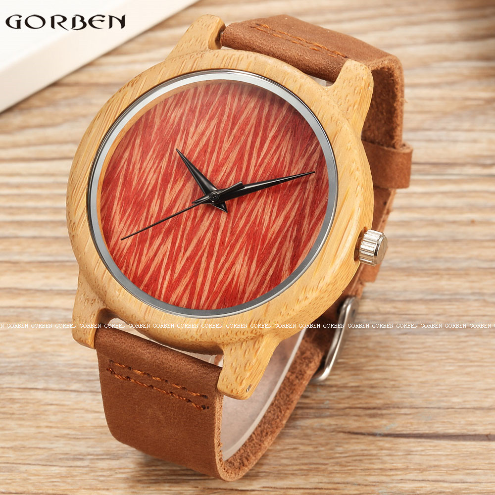 Fashion Natural Bamboo Quartz Mens Watches Natural Wooden Red Texture Retro Unique Cow Leather Band Mens