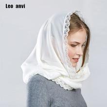 Leo anvi Tasarım kadın eşarp şifon başörtüsü bayanlar fular femme bandana dantel Başörtüsü kadınlar için yüzük wrap müslüman başörtüsü
