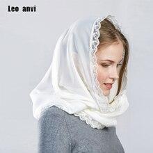 Leo anvi foulard en mousseline de soie pour femmes, couvre chef, bandana en dentelle, pour femmes, hijab musulman