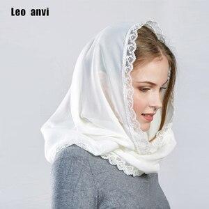 Image 1 - Leo anvi foulard en mousseline de soie pour femmes, couvre chef, bandana en dentelle, pour femmes, hijab musulman