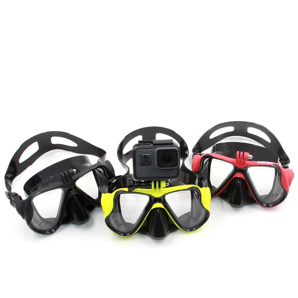 TELESIN Diving Mask Scuba Dive Snorkel Swimming Googgles Tempered Glasses for GoPro Hero 7 6 5 4 3 Xiaomi Yi 4K SJCAM EKEN H9 цена