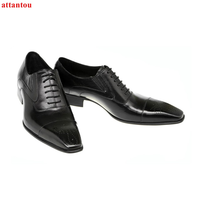 Hot Sale Autumn Lace Up Square Toe Men Dress Shoes Black Leather Shoes Luxury Male Casual Shoes Man Office Feast Formal Shoes hot sale mens genuine leather cow lace up male formal shoes dress shoes pointed toe footwear multi color plus size 37 44 yellow