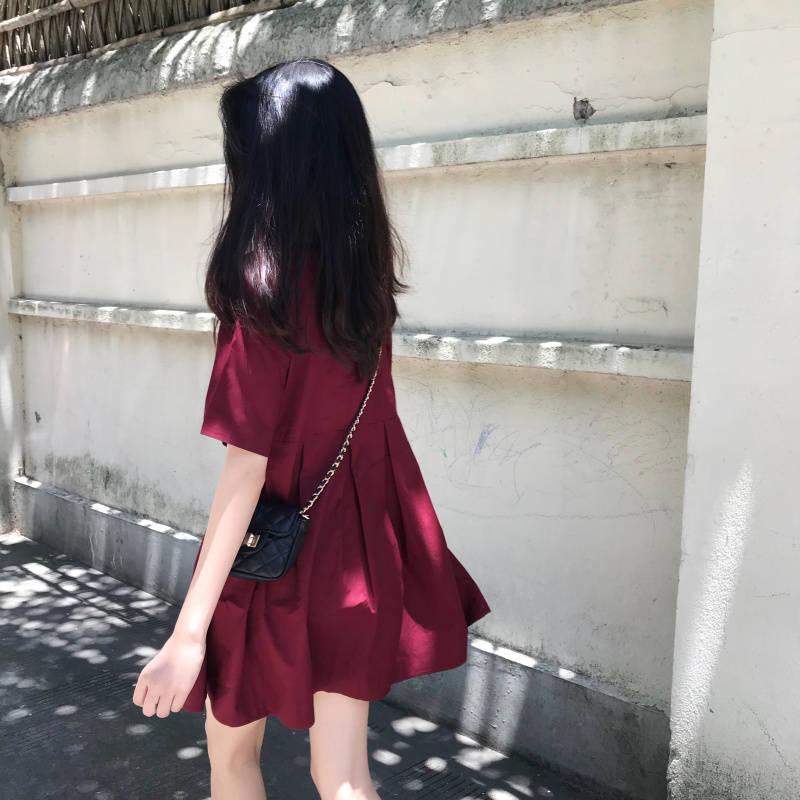 2019 Summer Dress Women Short Sleeve Japan Dress Casual Loose Midi Dress Oversized Vestidos Solid Harajuku Dress For Girls
