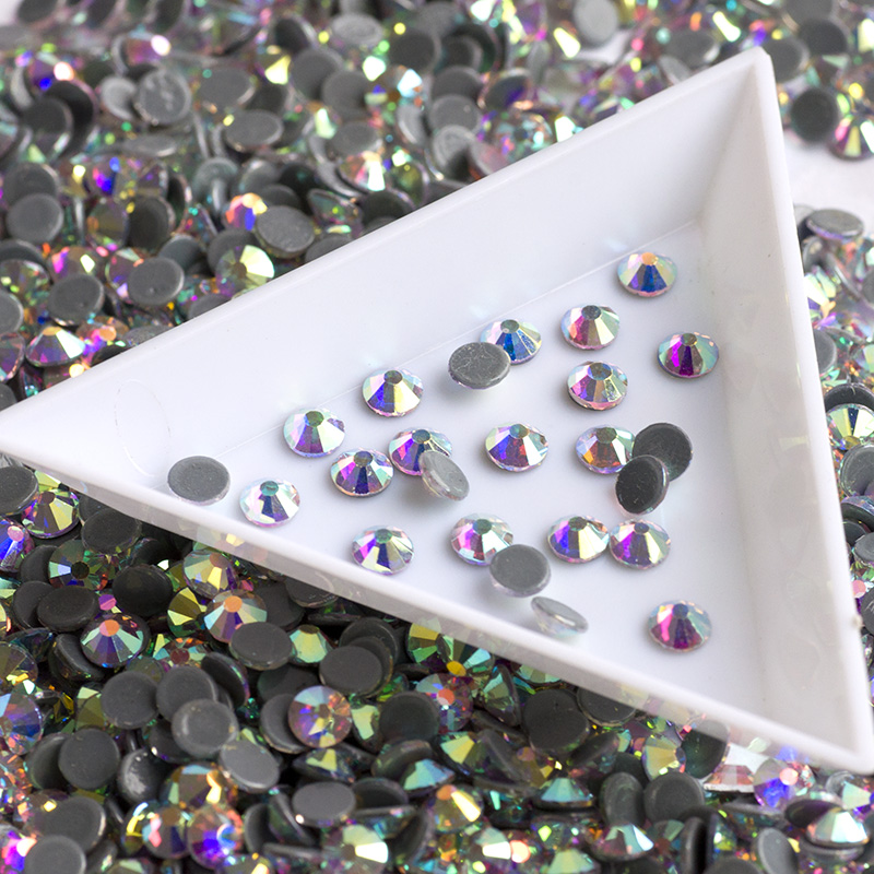 YANRUO #2028HF SS16 SS20 SS30 Clear And AB Color Hotfix Glass Stones Flatback Strass Rhinestone Crystal For Clothes
